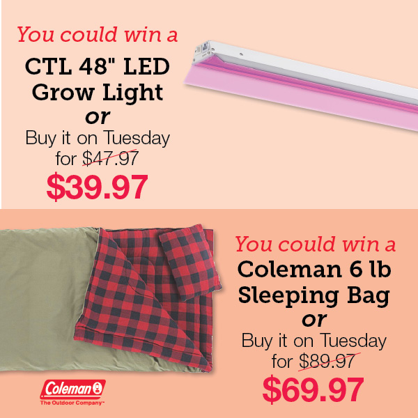 """CTL 48"""" LED Grow Light. Coleman 6-pound Sleeping Bag."""