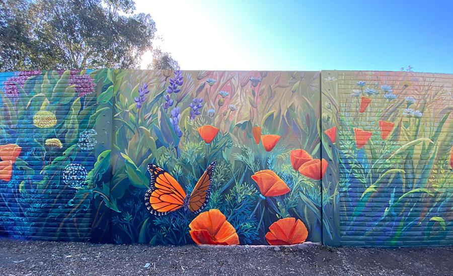 Monarch and Poppy Mural by Northern California Mural Painter